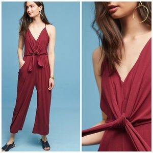 Anthropologie Deep Red Tied Front Soft Jumpsuit